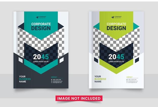 Design da capa do folheto comercial ou relatório anual e capa do perfil da empresa e conjunto de capa do livreto