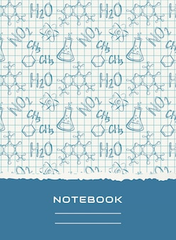 Design da capa do notebook. vetor de fundo químico.