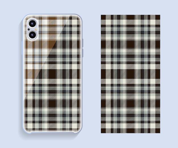 Design da capa do smartphone. padrão de modelo para a parte traseira do telefone móvel.