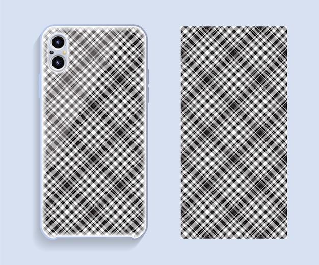 Design da capa do smartphone. padrão geométrico de modelo para a parte traseira do telefone móvel. design plano.