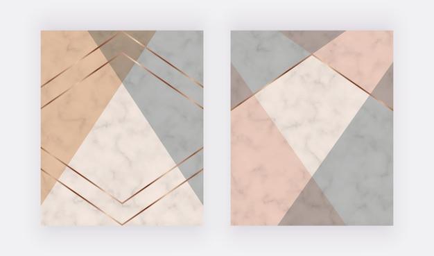 Design da capa geométrica com formas triangulares rosa, cinza e linhas douradas na textura de mármore.