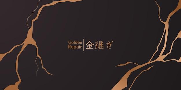 Design da capa kintsugi de restauração dourada com fundo preto. textura de cerâmica de mármore elegante e luxuosa. padrão de rachadura e chão quebrado para parede, pôster, banner, mídia social,