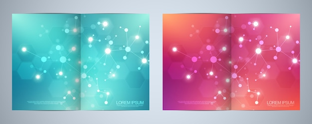 Design da capa, livro, folheto, com moléculas e rede neural