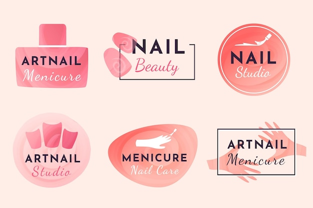 Design da coleção de logotipos do nails art studio