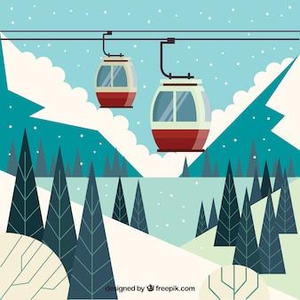 Design da estação de esqui com elevador