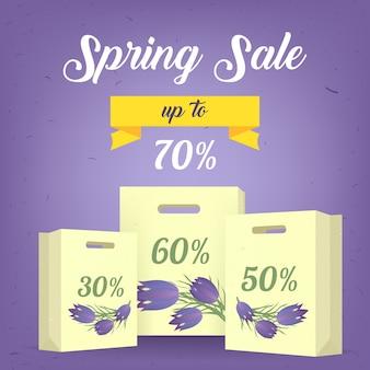 Design da etiqueta do poster da bandeira da venda da primavera com flores coloridas, texto caligráfico, fita e sacos de compras. modelo de primavera para o seu design, cartões, convites, cartazes. ilustração do vetor.