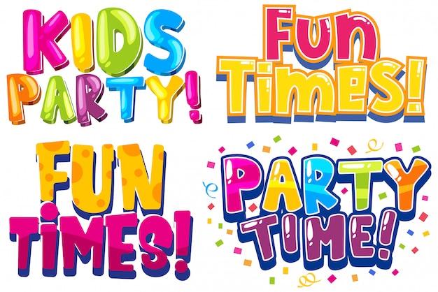 Design da fonte para palavras relacionadas a festa