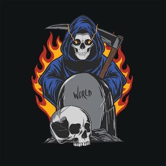 Design da ilustração do grim reaper