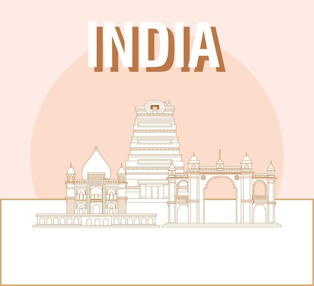 Design da índia com marcos iconics