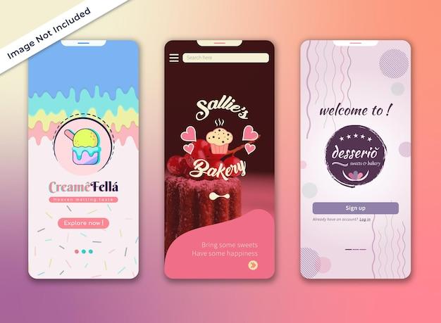 Design da iu da página de registro do aplicativo de sobremesas, sorvetes ou padarias