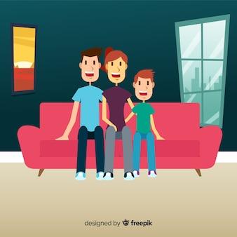 Design da jovem família em casa