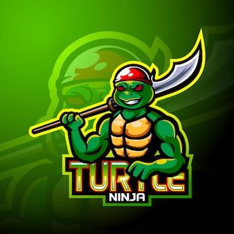 Design da mascote do logotipo do esporte e tartaruga