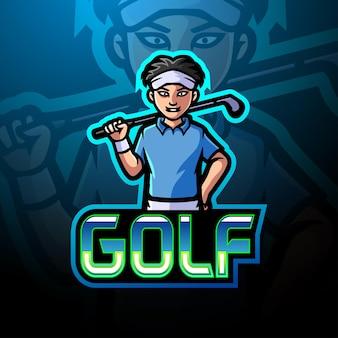 Design da mascote do logotipo do golfe e do esporte