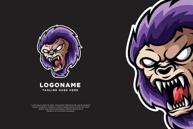 Design da mascote do logotipo do gorila kingkong