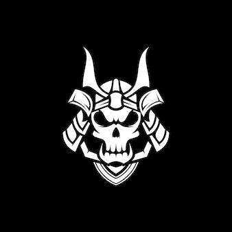 Design da mascote do samurai do crânio