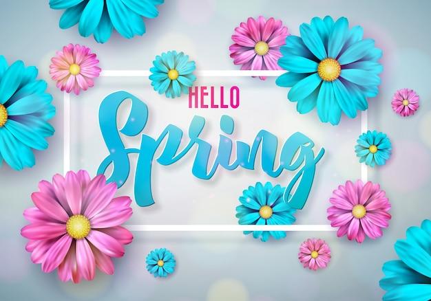 Design da natureza da primavera com flor colorida bonita no fundo limpo