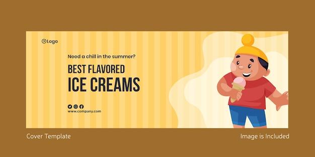 Design da página da capa dos melhores sorvetes com sabor