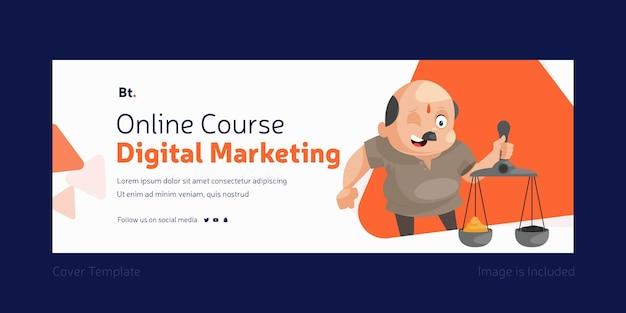 Design da página de capa de marketing digital do curso online