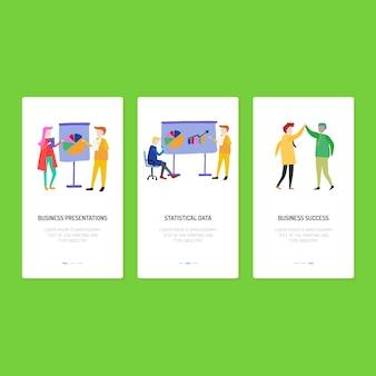 Design da página de destino - apresentação, dados e sucesso