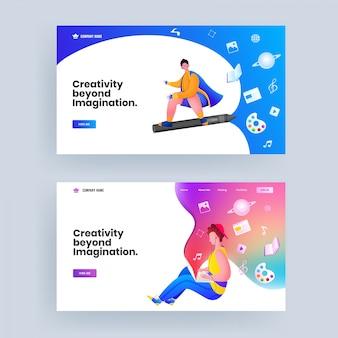 Design da página de destino baseado no conceito criatividade além da imaginação em duas opções.