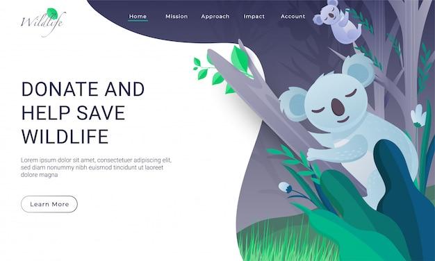 Design da página de destino com a árvore de escalada de dois coalas para doar e ajudar a salvar a vida selvagem.