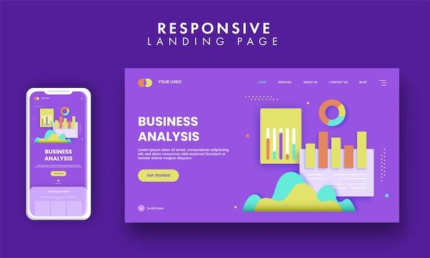 Design da página de destino com base no conceito de análise de negócios na cor roxa.