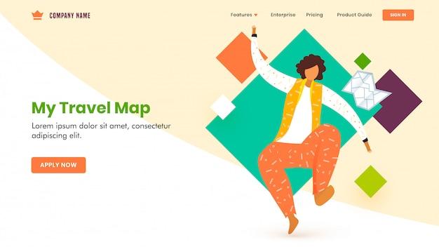 Design da página de destino com caráter de homem sem rosto em pose de salto, mapa de viagem