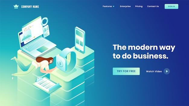 Design da página de destino com fêmea rápido trabalhando em diferentes plataformas com dispositivos inteligentes, como laptop de infográficos, smartphone e relógio de pulso para o conceito de negócio.