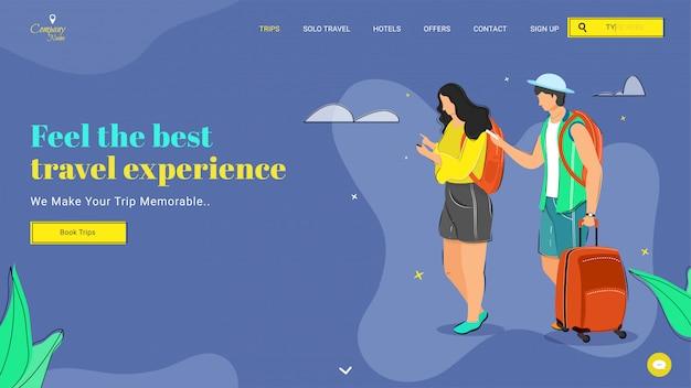 Design da página de destino com ilustração de turista feminina e masculina, segurando o saco de bagagem, indo viajar para sentir a melhor experiência de viagem.