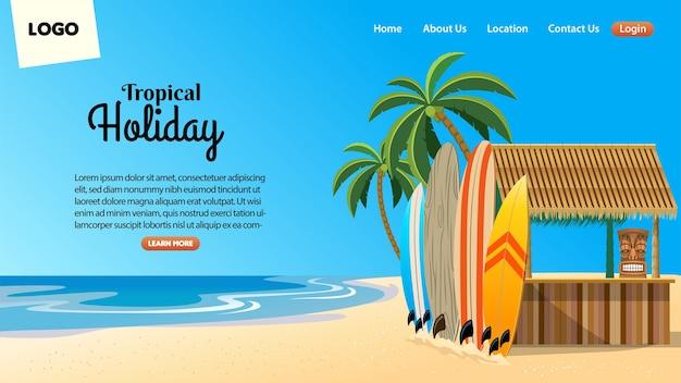 Design da página de destino com situação de bar de praia tropical