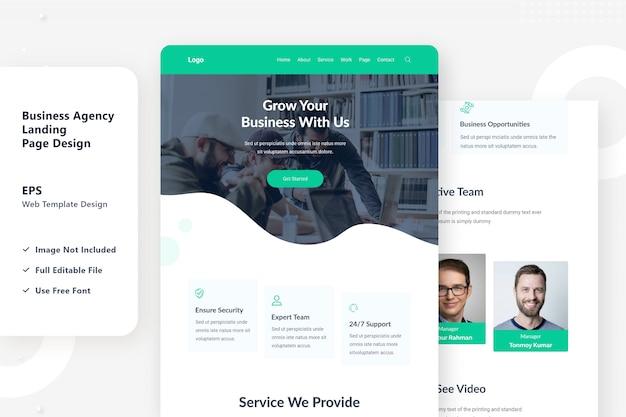 Design da página de destino da agência de negócios na web
