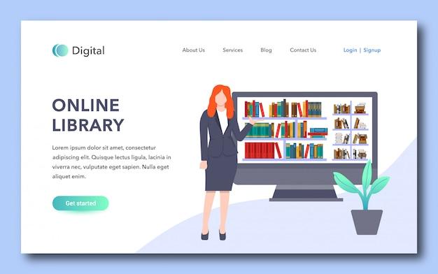 Design da página de destino da biblioteca on-line