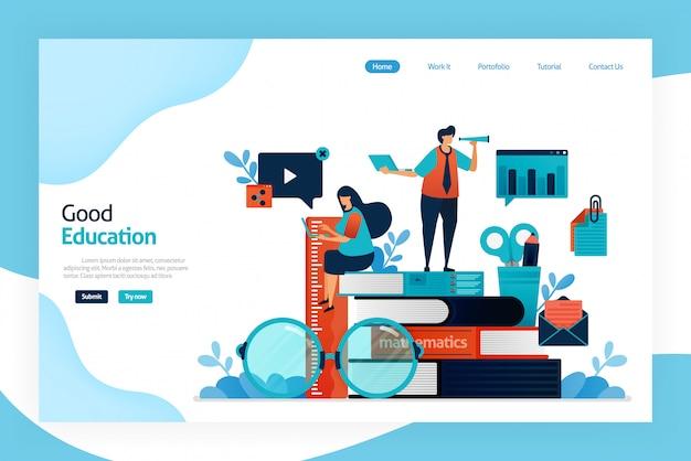 Design da página de destino da boa educação