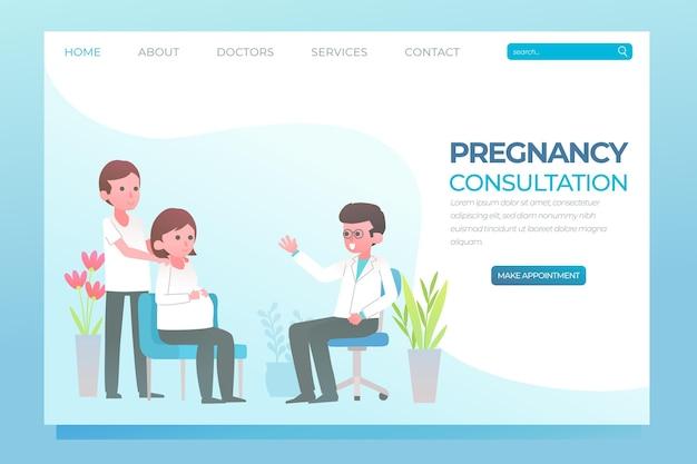 Design da página de destino da consulta de gravidez