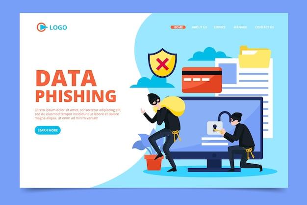 Design da página de destino da conta de phishing