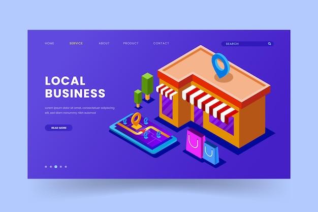 Design da página de destino da empresa local