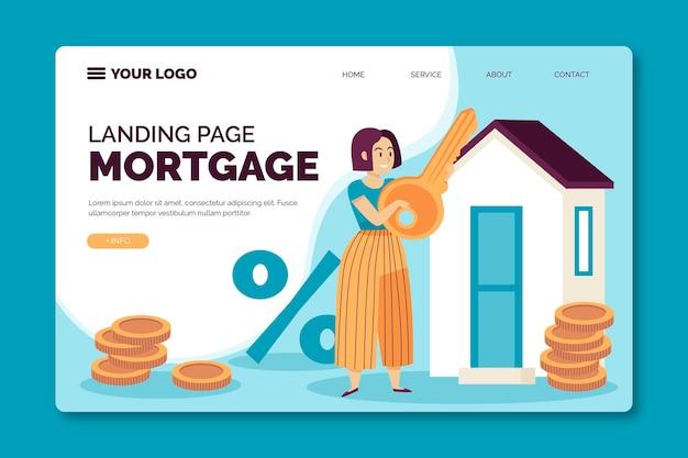 Design da página de destino da hipoteca