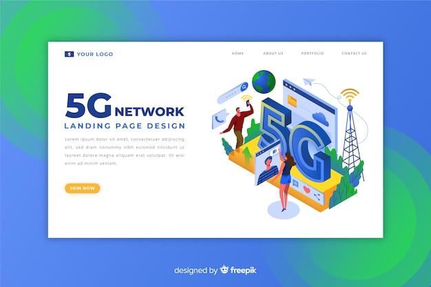 Design da página de destino da internet 5g