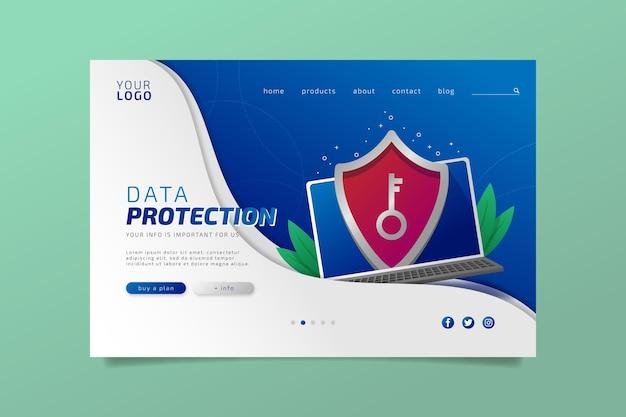Design da página de destino da proteção de dados