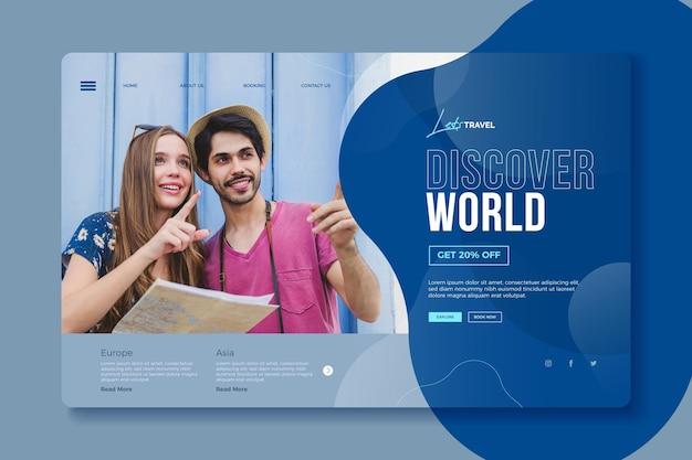 Design da página de destino da venda de viagens