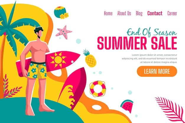 Design da página de destino das promoções de verão no final da temporada