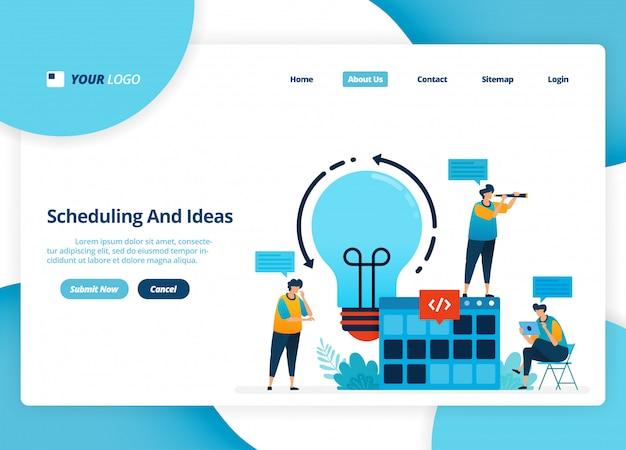 Design da página de destino de agendamento e idéias. ideia de brainstorming para o planejamento da estratégia.