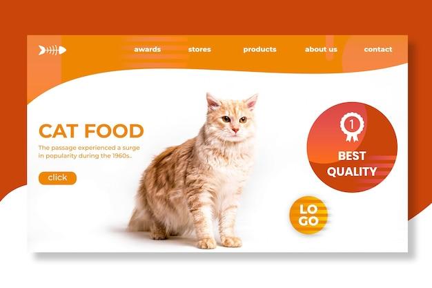 Design da página de destino de alimentos para animais
