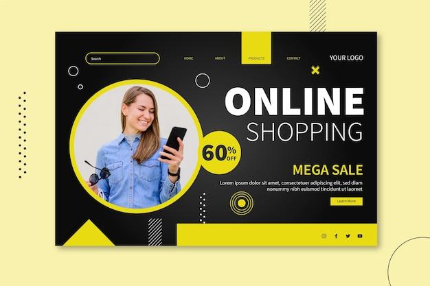 Design da página de destino de compras online