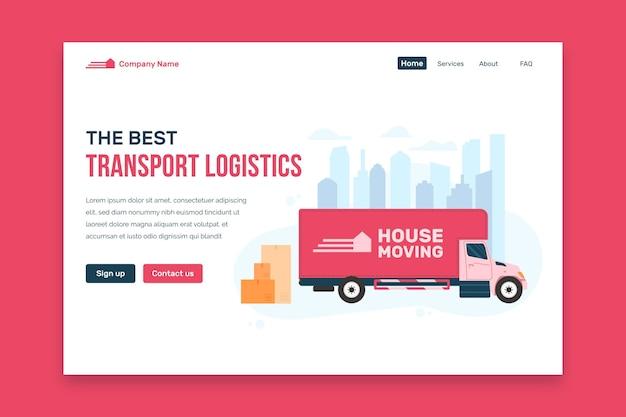 Design da página de destino de serviços de mudança de casa