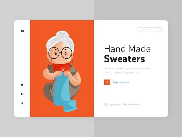 Design da página de destino de suéteres feitos à mão