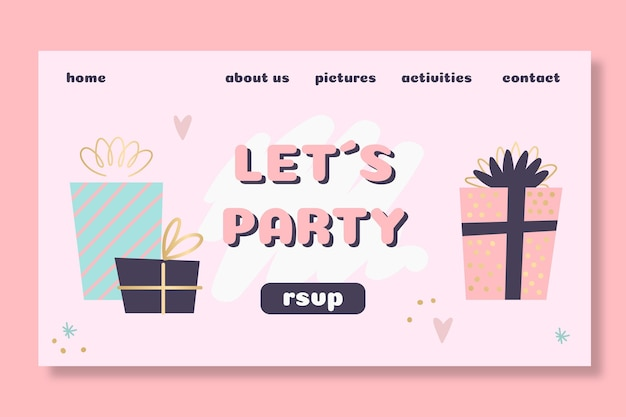 Design da página de destino do aniversário infantil