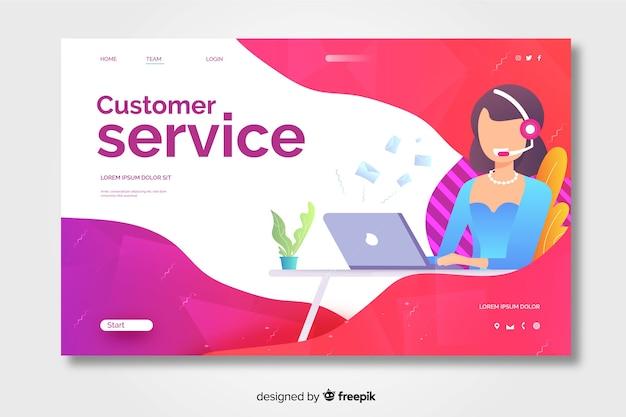 Design da página de destino do atendimento ao cliente