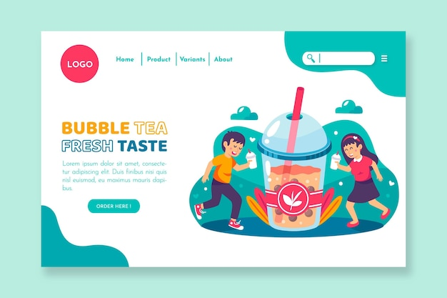 Design da página de destino do bubble tea