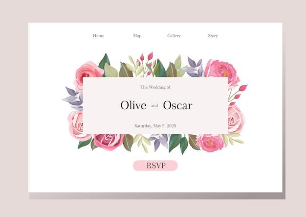 Design da página de destino do casamento com moldura floral rosa